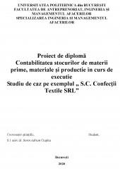 Contabilitatea stocurilor de materii prime, materiale si productie in curs de executie