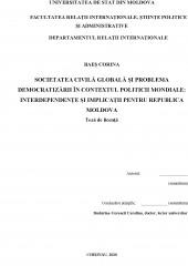 Societatea civila globala si problema democratizarii in contextul politicii mondiale - Interdependente si implicatii pentru Republica Moldova