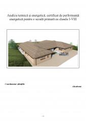 Analiza termica si energetica, certificat de performanta energetica pentru o scoala primara cu clasele I-VIII